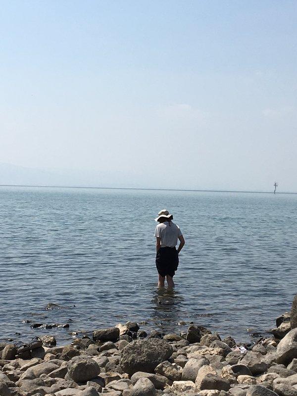 Wading into Sea of Tiberias