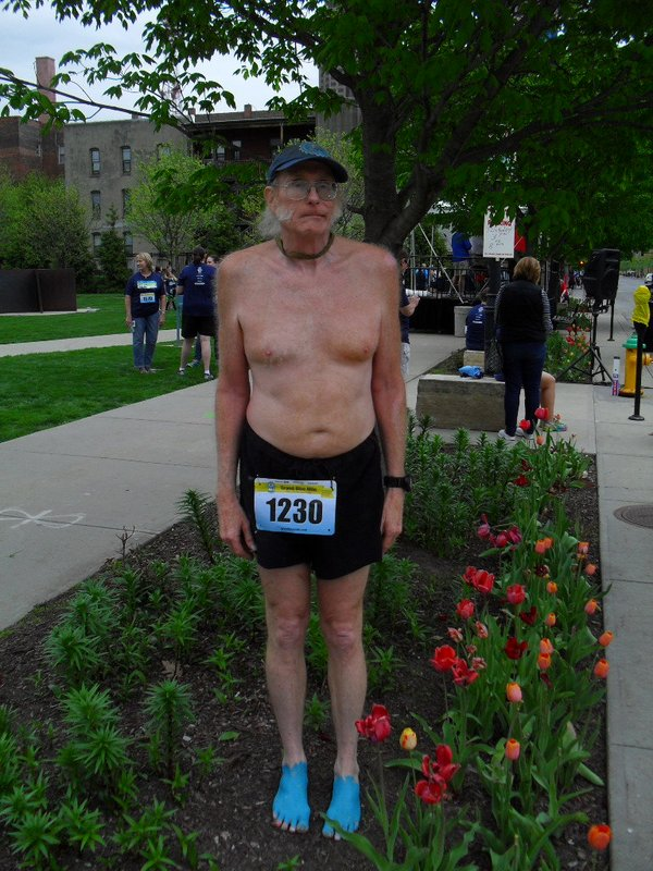 Me standing in the tulips before the Grand Blue Mile on April 25, 2017.