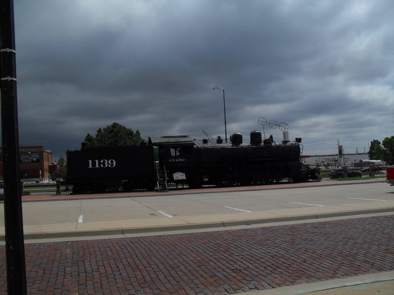 An old locomotive and coal car at one of the museums in Dodge City