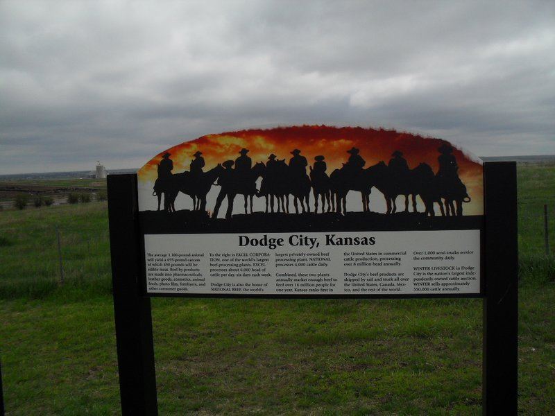 """The """"scenic overlook"""" northeast of Dodge City, KS, showing a sign there, May 11, 2017"""