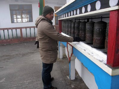 Alan at prayer wheels