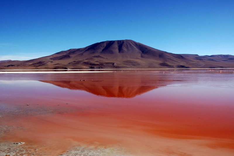Volcano at Laguna Colorada