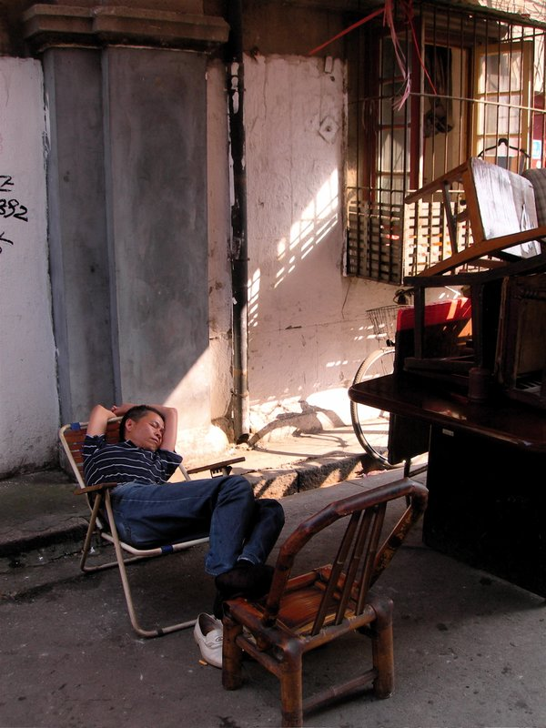 Old City, Chair Repairman Sleeping, Shanghai