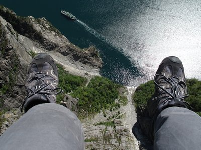 Sat on the edge of Pulpit Rock, Norweigan Fjords