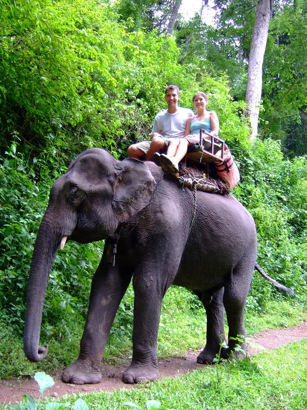 Riding an elephant