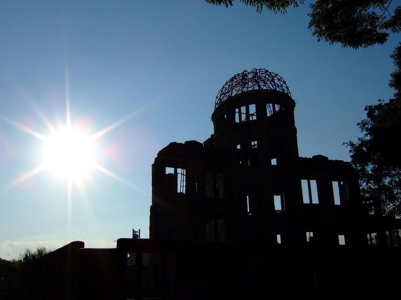 Sun setting at the Atomic Bomb Dome in Hiroshima