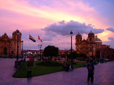 Sunset at Plaza de Armas in Cuzco