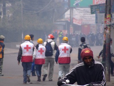 Medics on the way to riots in KTM