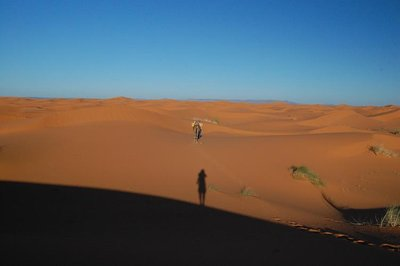 The dunes, my shadow and the camel.
