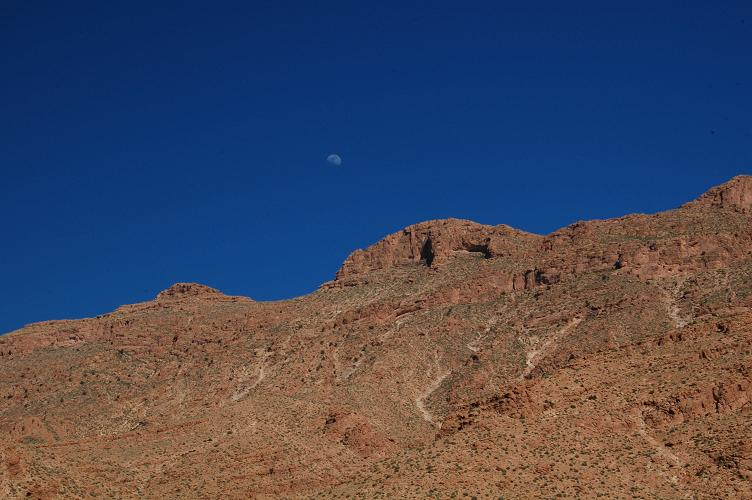 Moon and Mountain top at Todra Gorge
