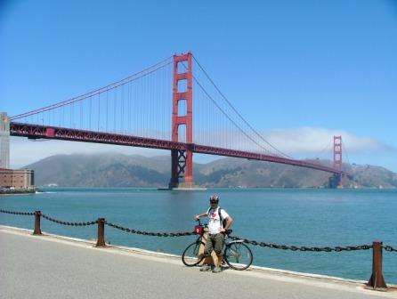 Cycling over Golden Gate Bridge - San Fran