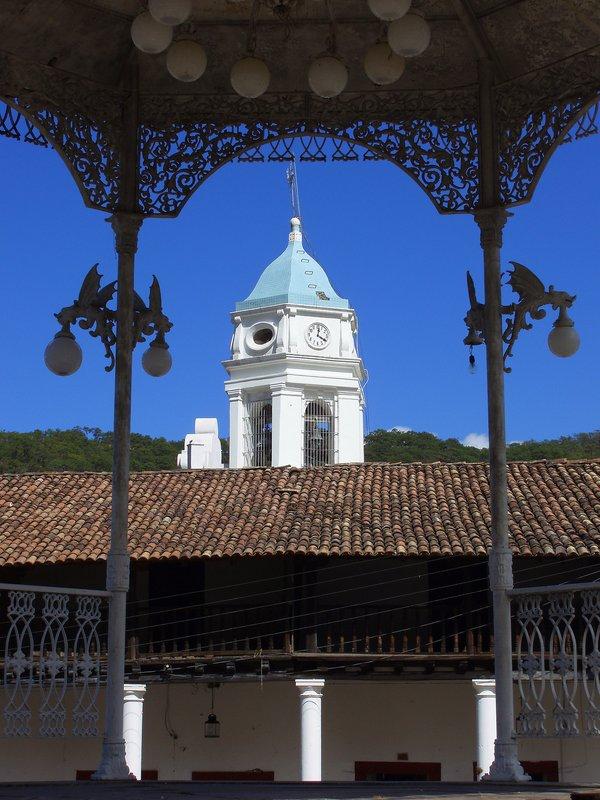 Town Clock Through the Gazebo