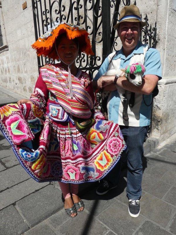 Cholita and llama