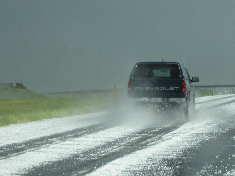 Hail storm on the road to Denver