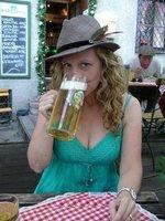Shelly enjoying a beer