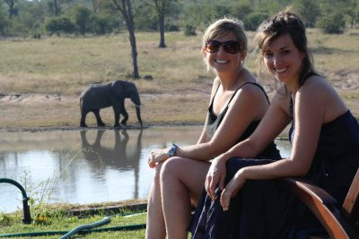 colleen and jen with elephant