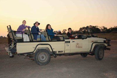 group in safari vehicle