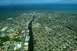 Aerial shot of Belize City