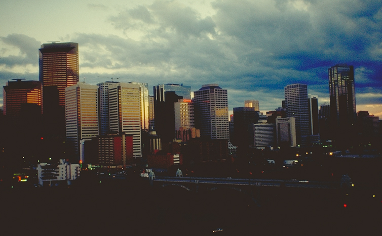 Calgary skyline at sundown