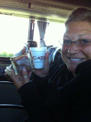 Breakfast on the bus!