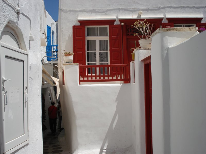 Colorful shutters in Mykonos town