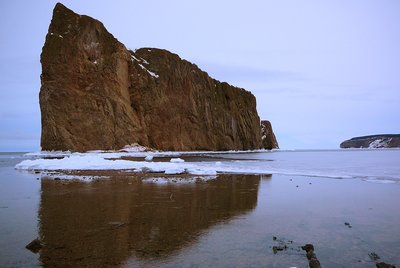 Rocher Perce in winter, Gaspesie