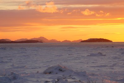 Sunset over the St-Lawrence River
