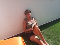 Paula sunning herself on our terrace