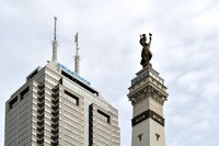 Soldiers and Sailors Monument, overlooked by Salesforce Tower Indy