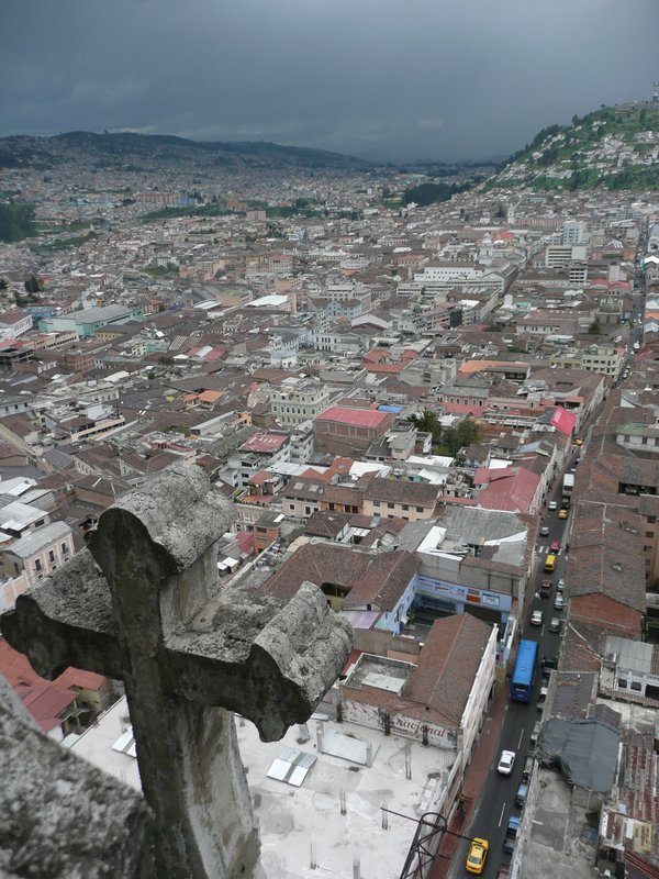 View of the city from the Basilica del Voto Nactiona in Quito