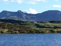 Skye - cottage and mountains.