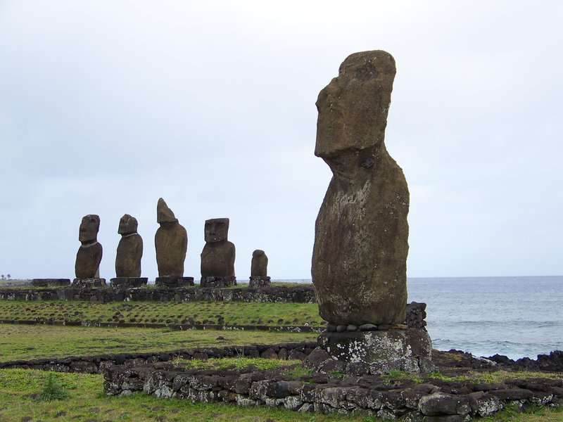 Group of Moai statues at Tahai