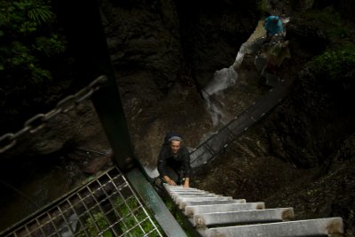 Climbing up the waterfall!