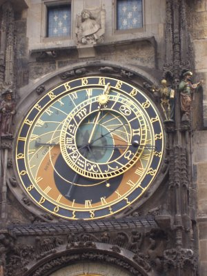 Strange clock face and carved figures, Old town square, Prague