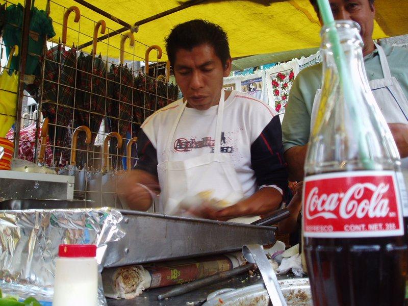 resting to eat tacos birria