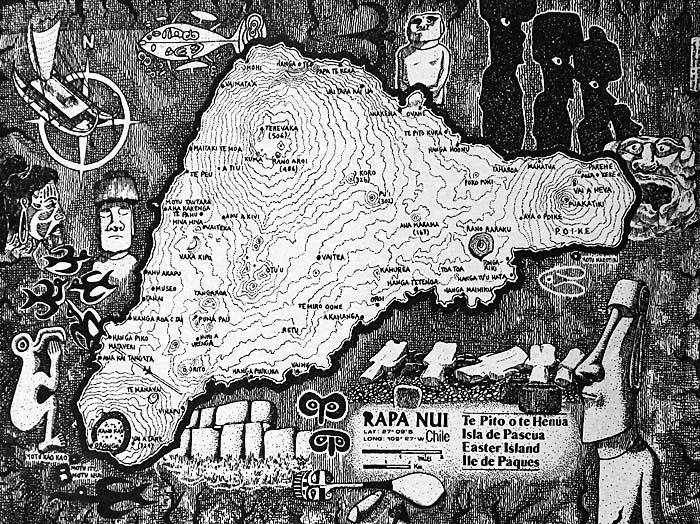 rapa nui hand drawn map