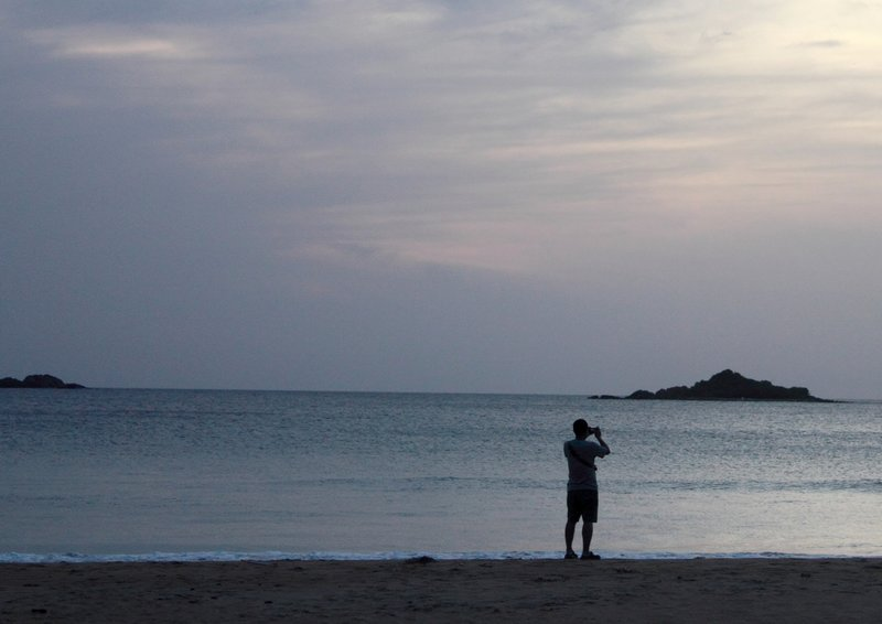 Solitary photographer at dawn