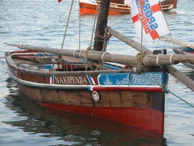 Dhow Anchored - Lamu Shorefront