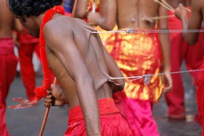 man with hooks through his back during Pera Hera, Kandy