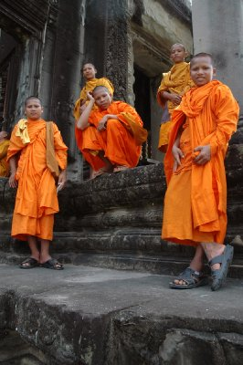 Monks chilling out at Angkor
