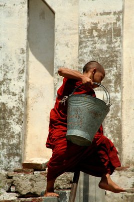Monk with Bucket