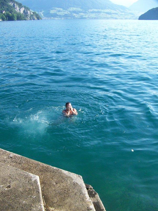 Jumping into Lake Lucern