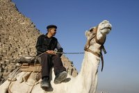 Tourist policeman on camel