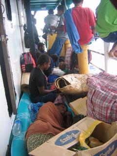 Deck passengers sleeping everywhere