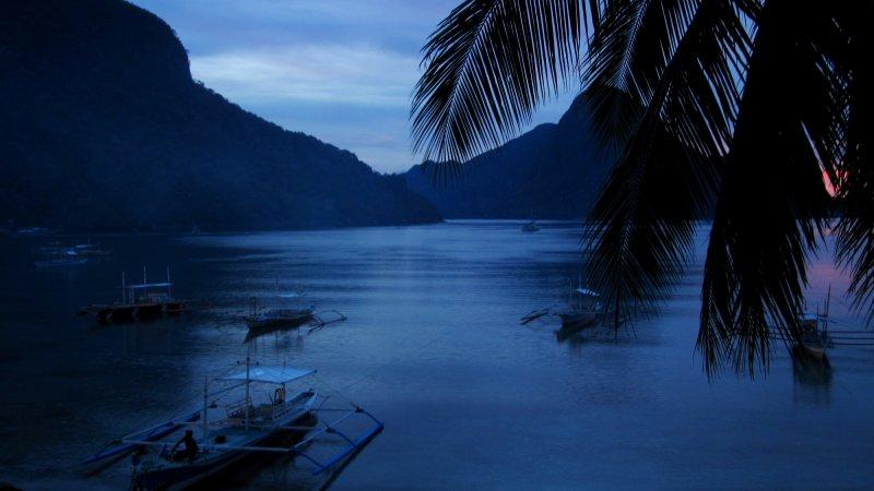 El Nido Bay nach Sonnenuntergang