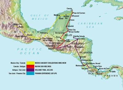 kart mellom amerika Kart over reiserute!   Jo & Cha til Mellom Amerika kart mellom amerika