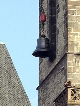 The new bell at its window