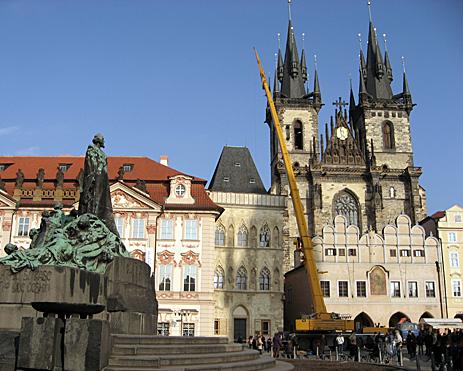 Delivering the bells in Prague