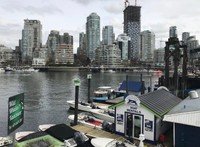 Granville Island landing & view to downtown