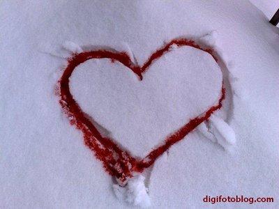heart on a snow